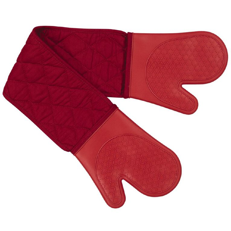 Living & Co Silicone Double Oven Glove Red 18cm x 90cm, , hi-res