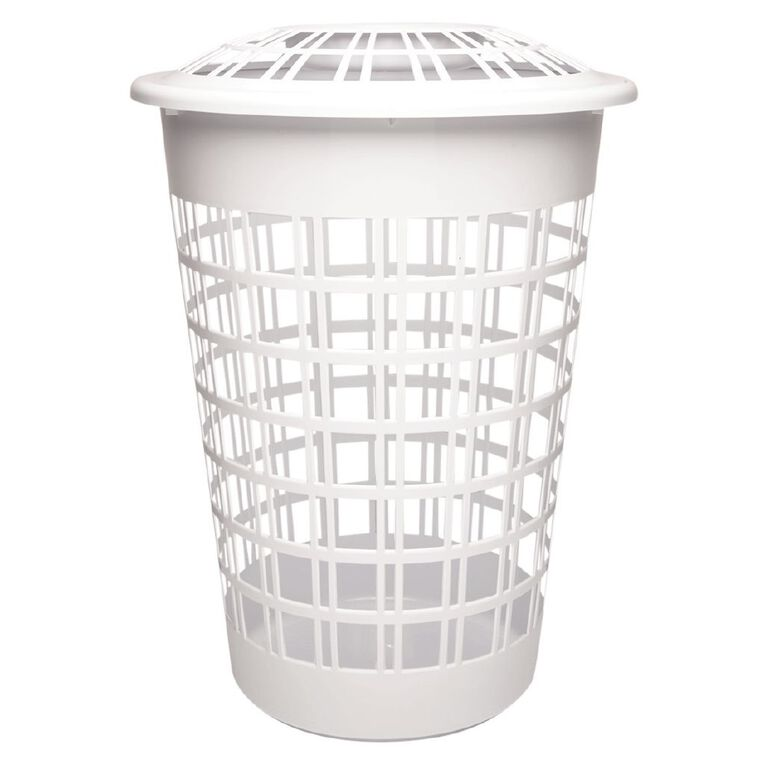 Living & Co Laundry Hamper with Lid White 64L, , hi-res