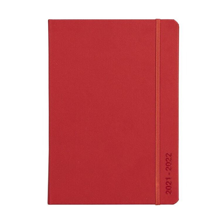 Dats Diary Mid Year 21-22 Day to Page PU Red A5, , hi-res