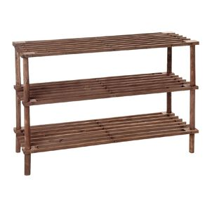 Living & Co Wooden Shoe Rack 3 Tier Brown