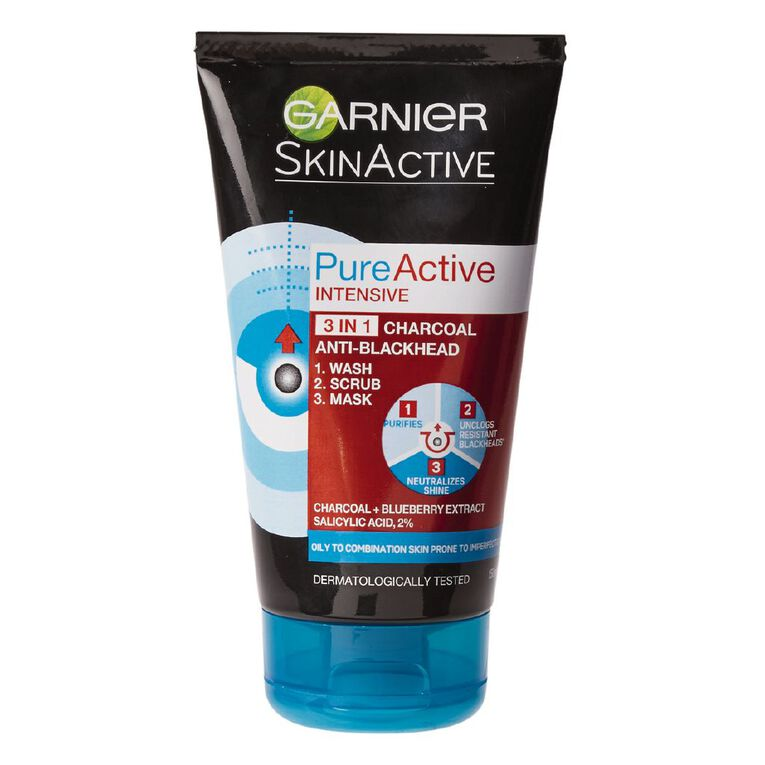 Garnier Pure Active 3in1 Charcoal Face Wash 150ml, , hi-res