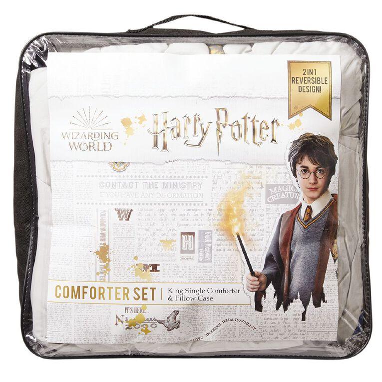 Harry Potter Comforter Set Houses Blue King Single, Blue, hi-res