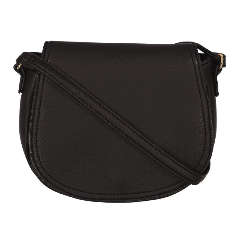 H&H Flap Opening Handbag, Black, hi-res