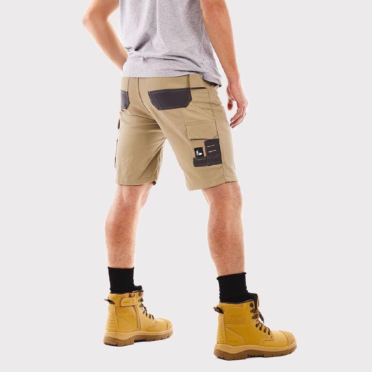 Tradie Flex Contrast Cargo Shorts, Khaki, hi-res