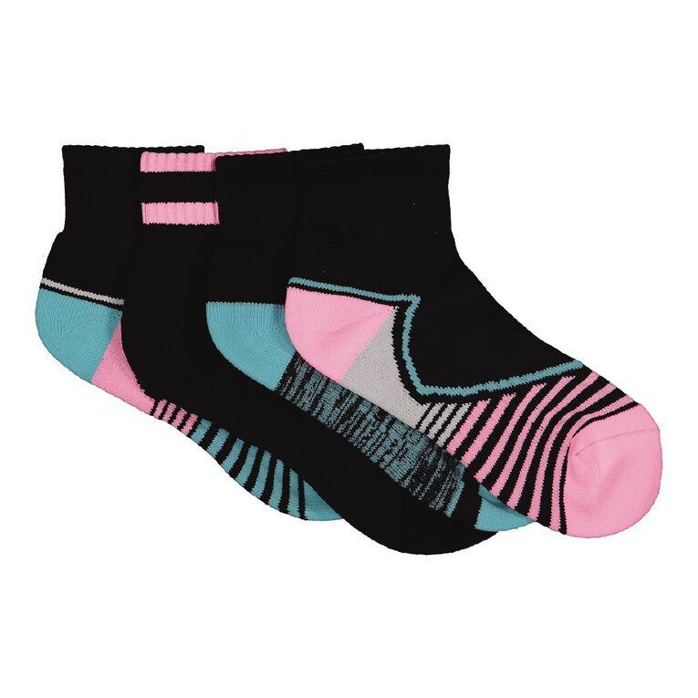 Active Intent Girls' Mesh Quarter Crew Socks 4 Pack, Black, hi-res