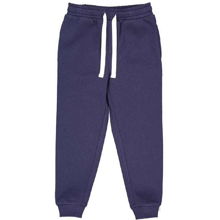 Young Original Plain Rib Cuff Trackpants, Blue Dark, hi-res