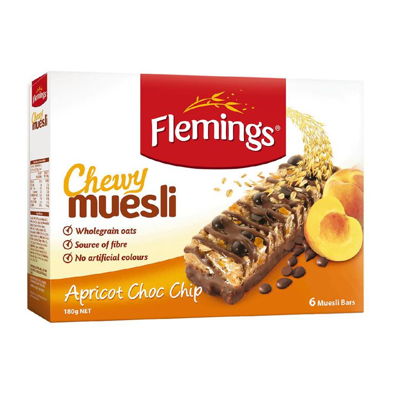 Flemings Chewy Muesli Apricot Choc Chip 180g, , hi-res
