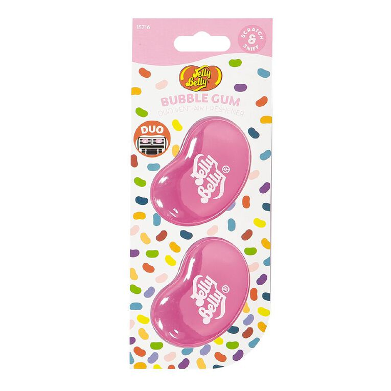 Jelly Belly Duo Mini Vent Mount Car Air Freshener Bubble Gum Scent, , hi-res