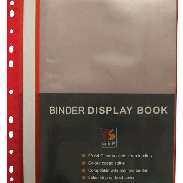 Office Supply Co Binder Display Book 20 Pocket Red A4, , hi-res