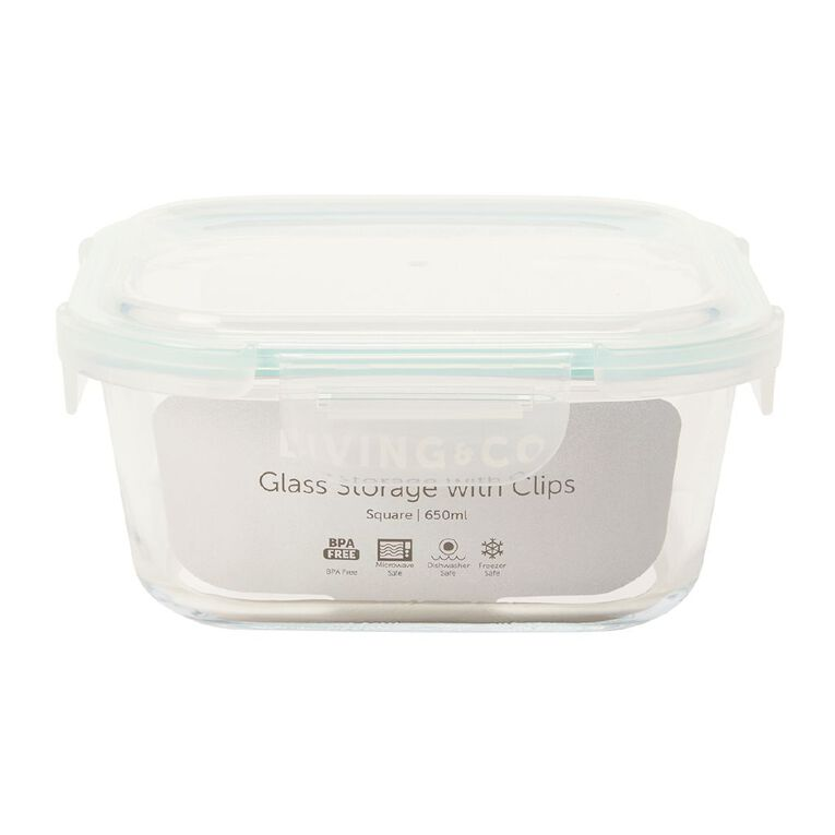 Living & Co Glass Container with Clips Square Clear 650ml, , hi-res