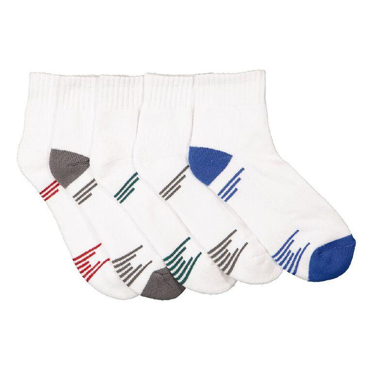 Active Intent Boys' Quarter Crew Heel Toe Socks 5 Pack, White, hi-res image number null