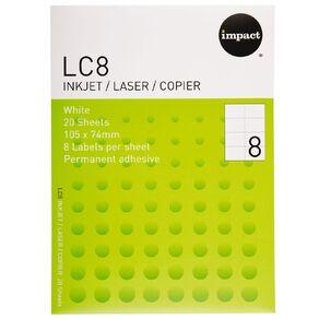 Impact Labels 20 Sheets A4/8 White