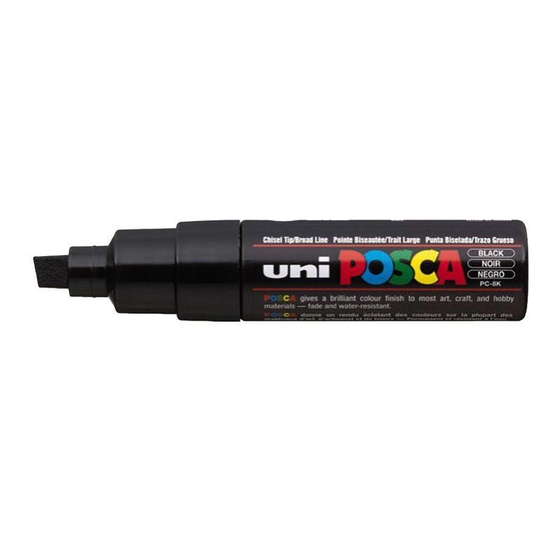 Uni Posca Marker Bullet Tip Bold Chisel 8mm Black, , hi-res