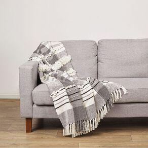 Living & Co Cotton Woven Throw White 127cm x 152cm