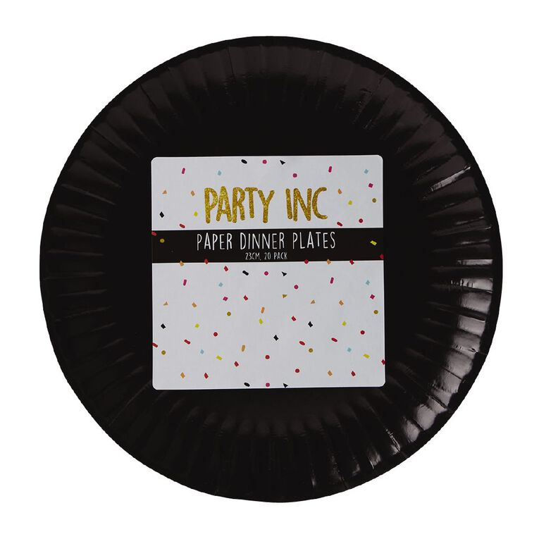 Party Inc Paper Dinner Plates 23cm Black 20 Pack, , hi-res