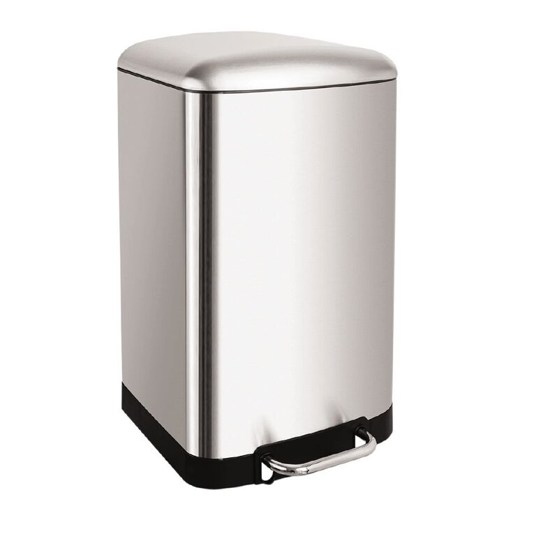 Living & Co Stainless Steel Pedal Rubbish Bin Silver 40L, , hi-res