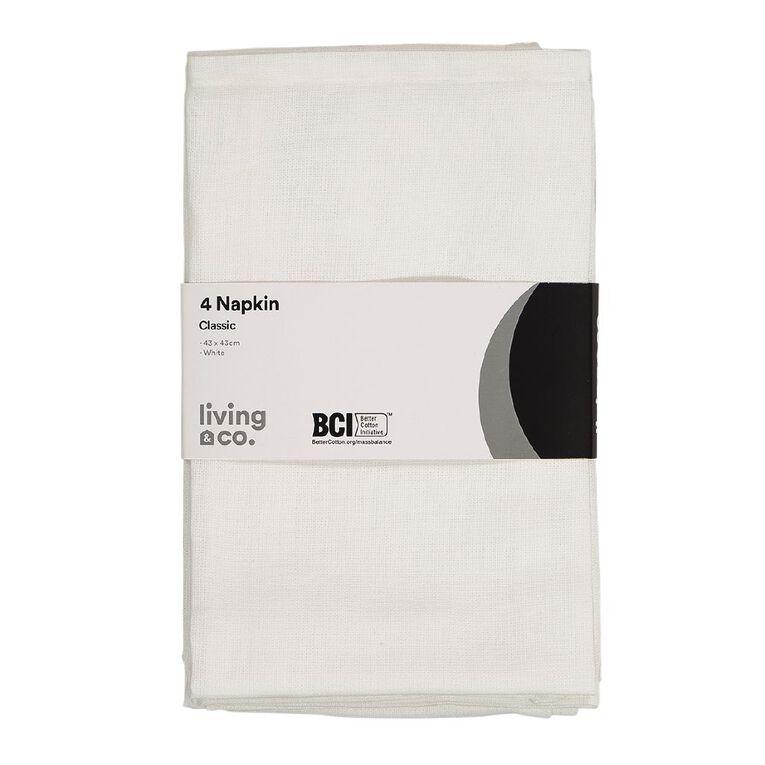 Living & Co Plain Napkin 4 Pack White 43cm x 43cm, , hi-res
