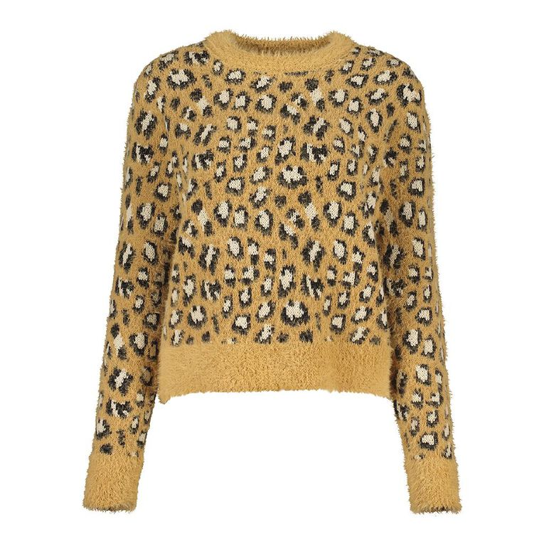 H&H Women's Fluffy Jacquard Crew Jumper, Brown, hi-res