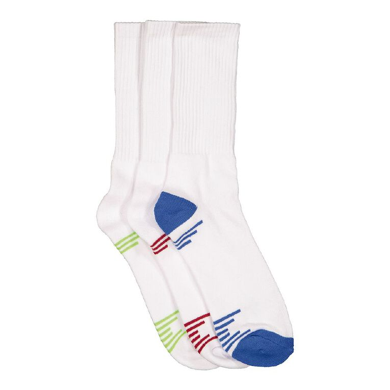 Active Intent Men's Crew Cushioned Sports Socks 3 Pack, White, hi-res