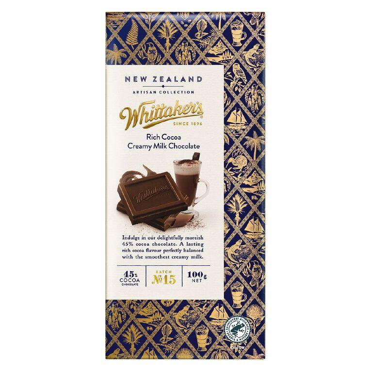Whittaker's NZ Artisan Rich Cocoa Creamy Milk 100g, , hi-res