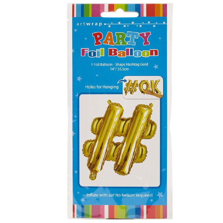 Artwrap Foil Balloon Hash Tag Gold 35cm, , hi-res