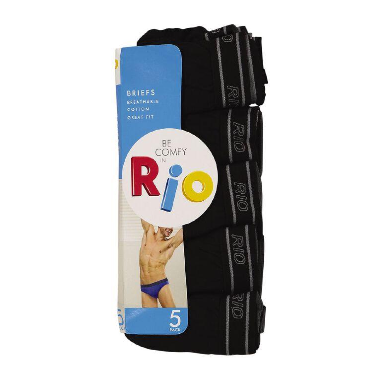 Rio Men's Briefs 5 Pack, Black, hi-res