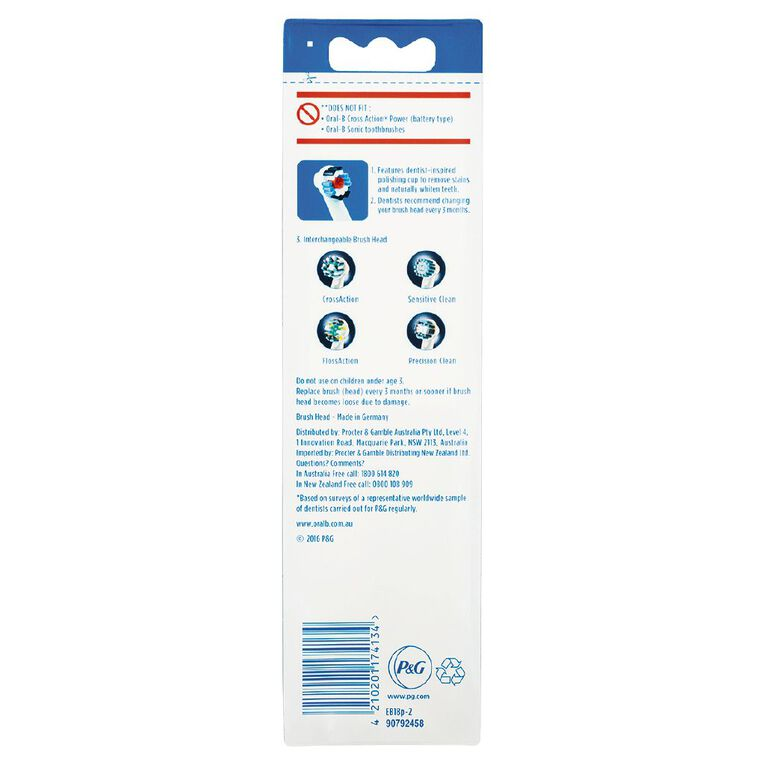 Oral-B 3D White Toothbrush Head Replacements 2 Pack, , hi-res