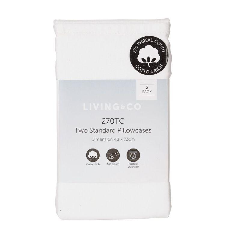 Living & Co Pillowcase Standard Cotton Rich 2 Piece White 48cm x 73cm, White, hi-res