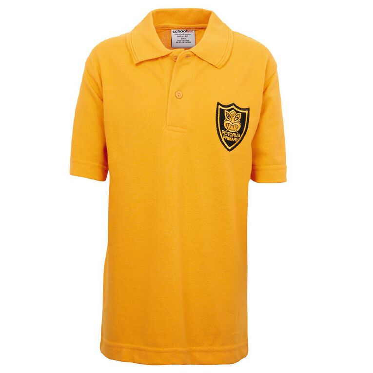 Schooltex Rotorua Short Sleeve Polo with Embroidery, Gold, hi-res