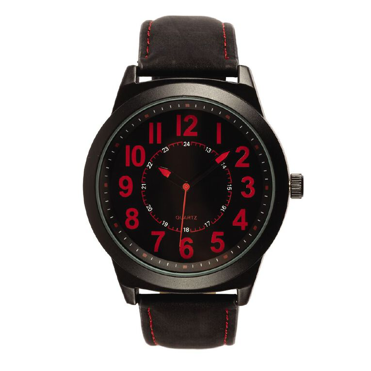 Eternity Men Analogue Watch Nato with Red Accent Black, , hi-res