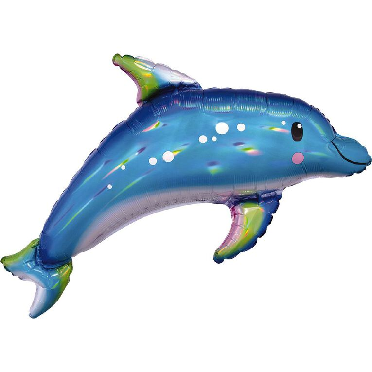 Anagram Holo Iridescent Blue Dolphin Foil Balloon Supershape 27in, , hi-res