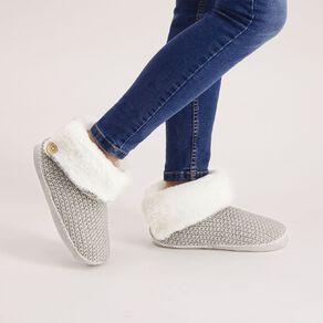 H&H Women's Knit Fleece Cuff Slipper Boots