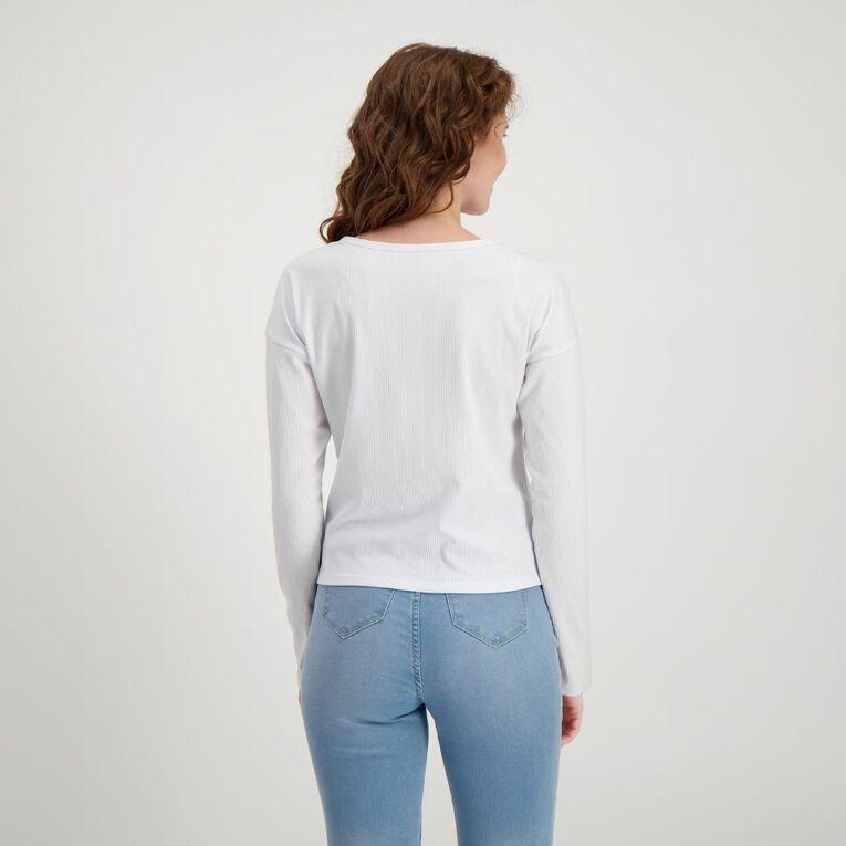 H&H Women's Rib Twist Front Top, White, hi-res