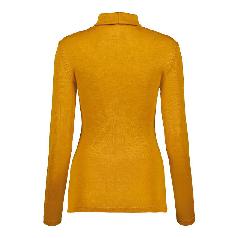 H&H Women's Merino Blend Roll Neck, Yellow Mid, hi-res