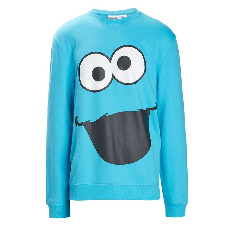 Sesame Street Men's Lounge Sweatshirt, Blue, hi-res