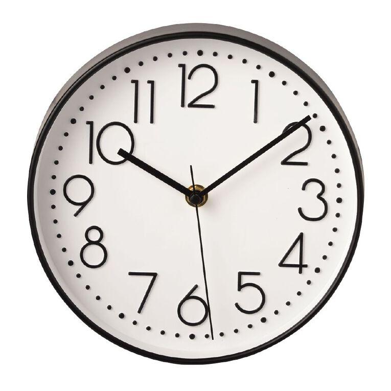 Living & Co Clock White  20.5cm x 20.5cm White/Black/Gold, , hi-res