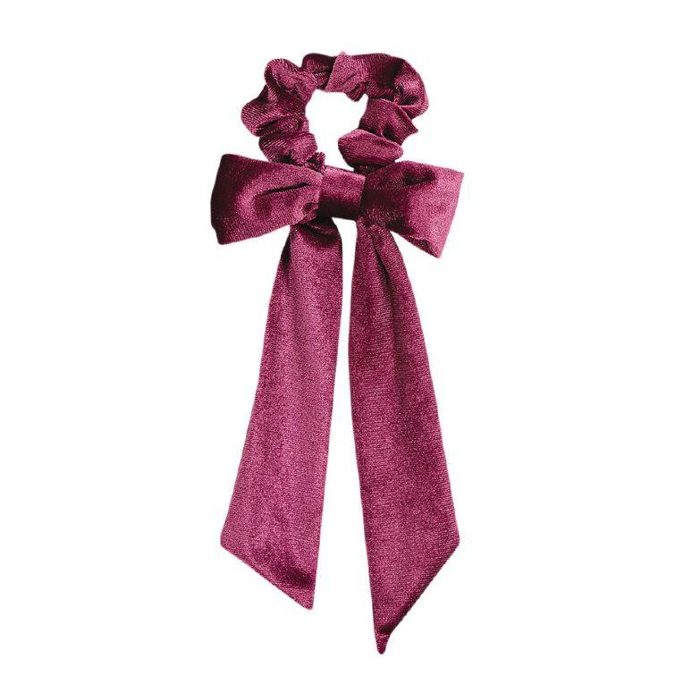 Dark Romance Purple Velvet Scruchie With Bow, , hi-res