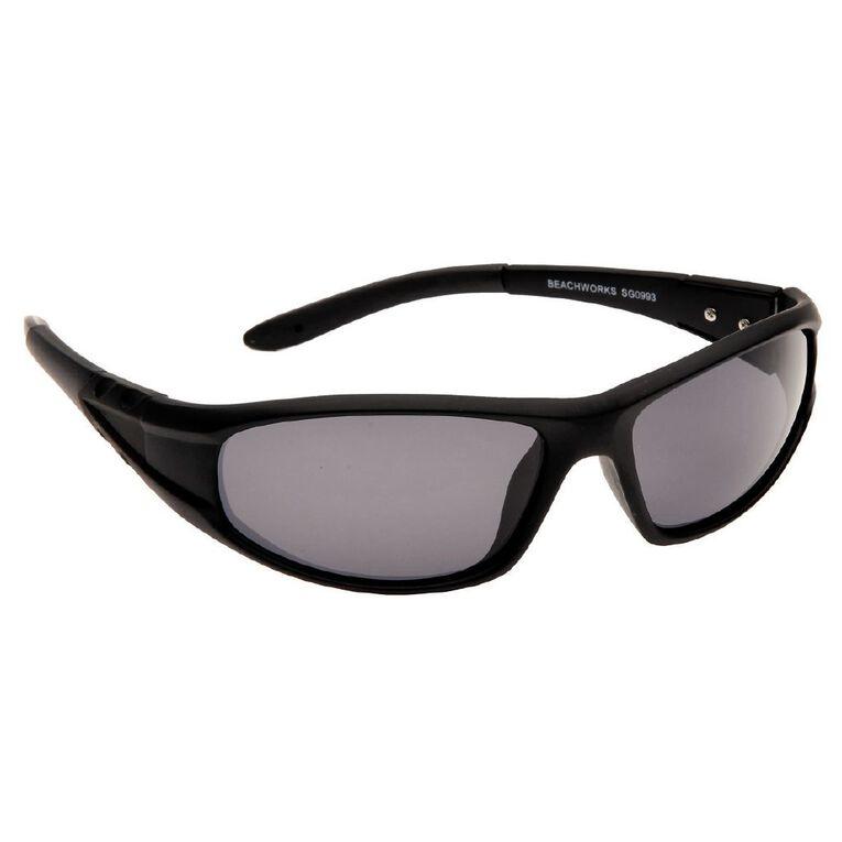 Beach Works Men's Polarised Wrap Sunglasses, Black, hi-res