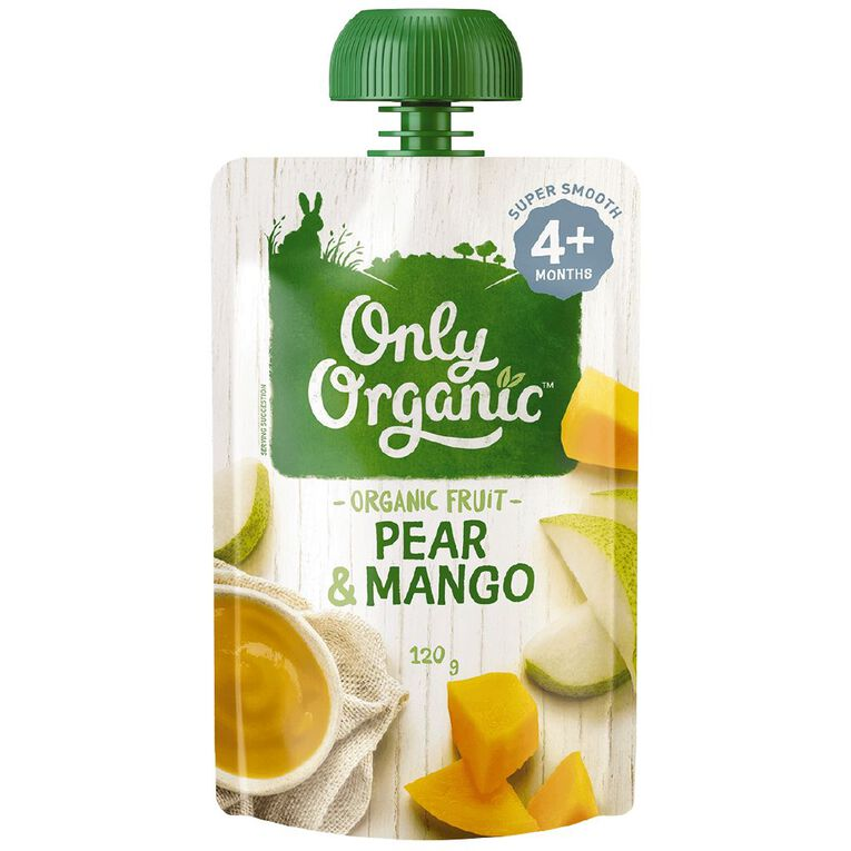 Only Organic Pear & Mango Pouch 120g, , hi-res