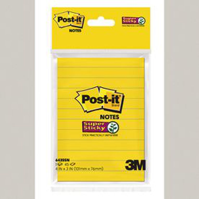 Post-It 643SSN HB Lined Notes UL/Yellow 101X127MM 45Sht, , hi-res