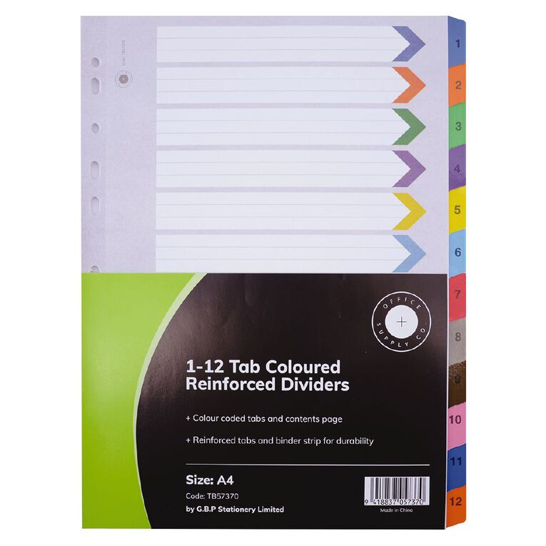 Office Supply Co 1-12 Tab Coloured Reinforced  Dividers, , hi-res