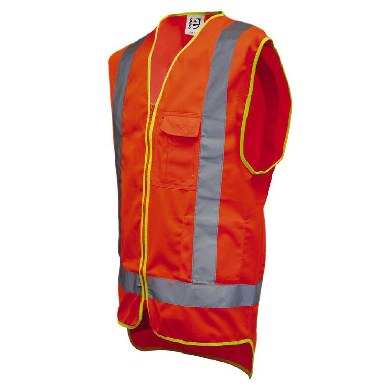 Hi-Vis Day/Night Safety Vest With Pockets Orange XL, Orange, hi-res