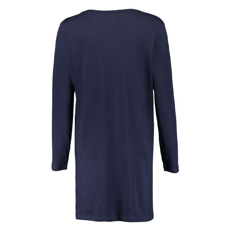 H&H Women's Long Sleeve Tee Nightie, Navy, hi-res