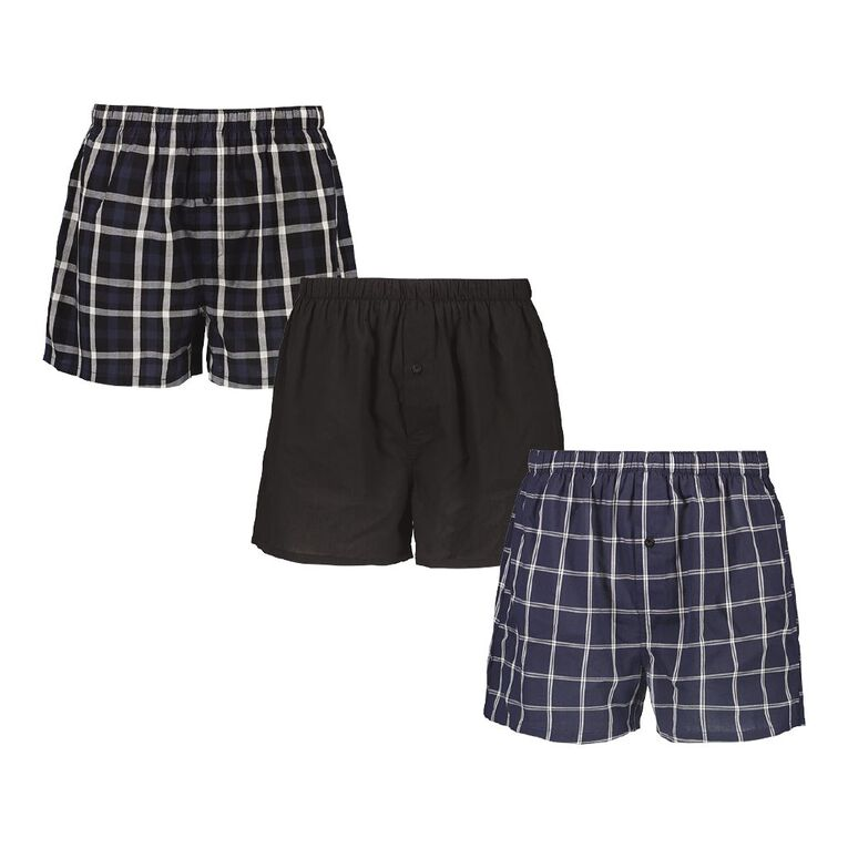 H&H Men's Woven Boxers 3 Pack, Black/Navy, hi-res image number null