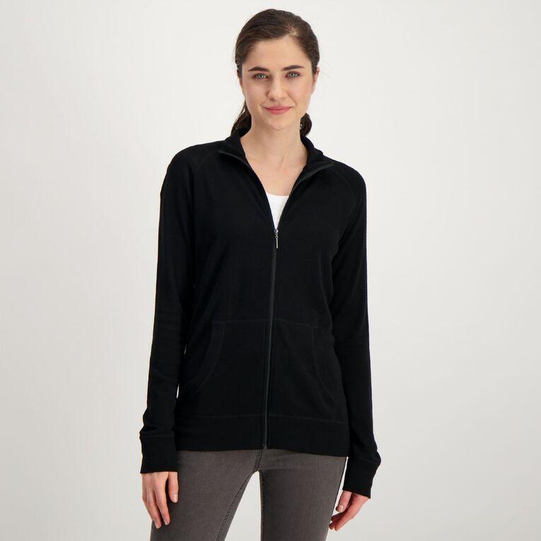 H&H Women's Merino Blend Zip Collar Cardi, Black, hi-res