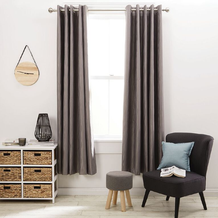 Living & Co Swirl Eyelet Curtain Silver 150-230cm Wide/160cm Drop, Silver, hi-res