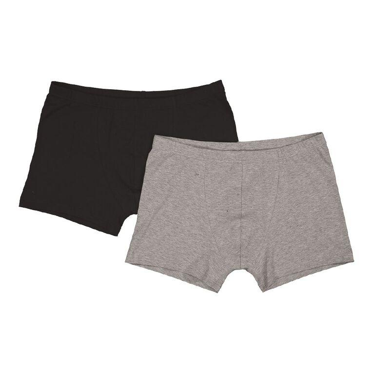 H&H Men's Plain Trunks 2 Pack, Black, hi-res