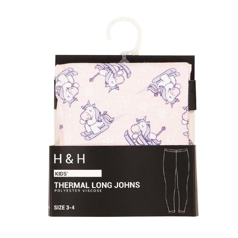 H&H Polyester Viscose Long John Thermal, Pink, hi-res image number null