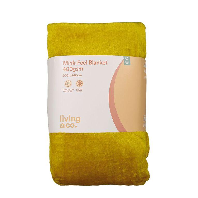 Living & Co Blanket Mink Feel 400gsm Tawny Mustard Yellow Queen, , hi-res
