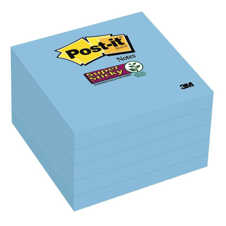 Post-It Super Sticky 76mm x 76mm 5 Pack Electric Blue, , hi-res